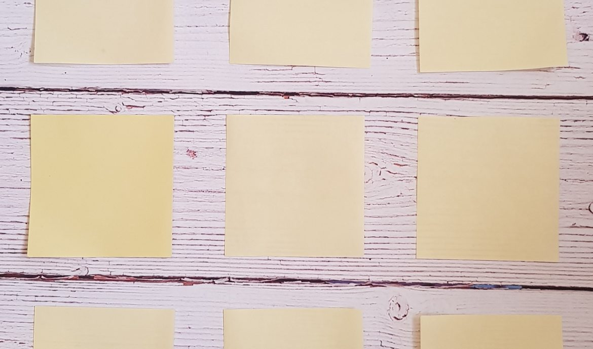 A picture of 9 yellow sticky notes.
